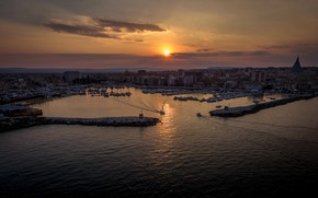 Picture sunset, home, port, Italy, panorama, harbour, Sicily, Siracusa