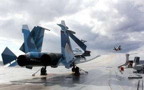 Wallpaper deck, carrier-based fighter, Su-33, Admiral Kuznetsov