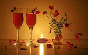 Picture light, reflection, fire, beauty, bouquet, the evening, candles, still life, drinks, composition, Kalina, escholzia, bouquets