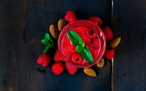 Picture raspberry, cocktail, drink, nuts, mint, smoothies
