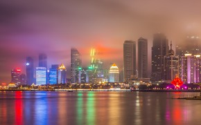 Picture Fog, Night, The city, River, Skyscrapers, China, City Pasig