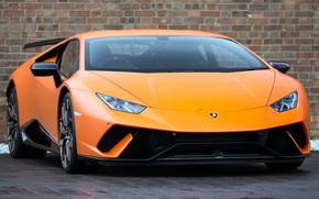 Picture Lamborghini, orange, UK-spec, Performante, Huracan, 2017