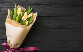 Picture flowers, bouquet, tape, tulips, yellow, wood, flowers, romantic, tulips, spring