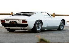 Picture Auto, Lamborghini, White, Retro, Machine, Eyelashes, 1969, Lights, Car, Supercar, Miura, Supercar, Back, Lamborghini Miura, …