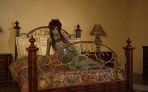 Picture girl, bed, green skin