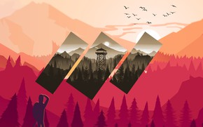 Picture Mountains, The game, People, Forest, Birds, Silhouette, Hills, Art, Figure, Tower, Campo Santo, Firewatch, Fire …