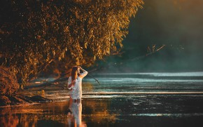 Picture water, girl, trees, pose, river, mood, Julia, Vadim Miller
