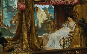 Picture picture, history, genre, Lawrence Alma-Tadema, The meeting of Antony and Cleopatra, Lawrence Alma-Tadema
