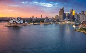 Picture sea, skyscraper, home, Australia, panorama, theatre, Sydney, Opera