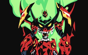 Picture background, flame, robot, distributed by mattel and nintendo violence gurren lagann