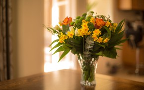 Picture roses, bouquet, daffodils