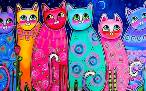 Picture eyes, cats, mood, the moon, figure, spring, art, painting, tails, multicolored cats
