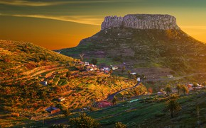 Picture road, the sky, the sun, mountains, palm trees, rocks, dawn, houses, gorge, Spain, The Canary …