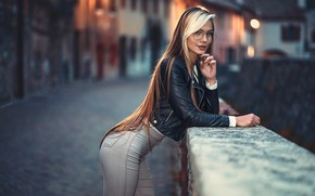 Picture look, girl, lights, pose, portrait, jeans, the evening, makeup, figure, glasses, jacket, hairstyle, blonde, black, ...