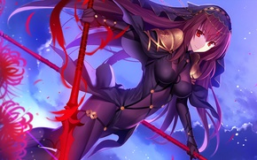 Picture girl, anime, art, Fate Stay Night, spear, fate/grand order