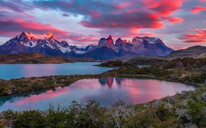 Picture clouds, mountains, lake, top, glow, Chile, Magallanes