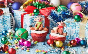 Picture Christmas, gifts, New year, Christmas, cupcakes, Photos, treats, vectors