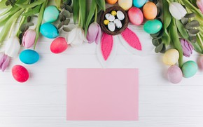 Picture flowers, eggs, spring, Paper, Easter, socket, tulips, Holiday