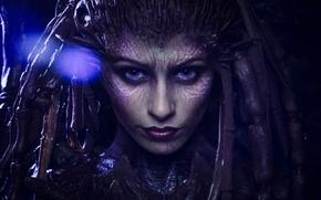 Picture game, monster, woman, alien, StarCraft II, StarCraft 2, face, cosplay, Sarah Kerrigan, StarCraft, Heroes of …