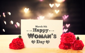 Wallpaper gift, roses, red, March 8, hearts, bokeh, roses, Women's Day