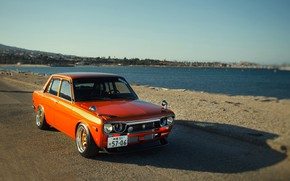 Picture Sea, Auto, Machine, Pierce, Orange, Nissan, Nissan, Lights, Car, 2000, Skyline, Nissan Skyline, The front, …