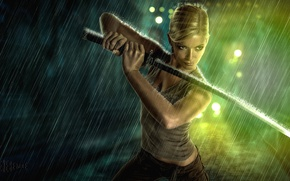 Wallpaper girl, rain, sword