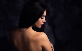 Picture girl, background, back, tattoo, profile