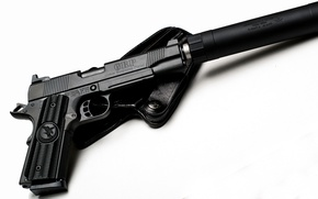 Wallpaper gun, holster, muffler, GRP, Global Response Pistol, Nighthawk Custom, white background