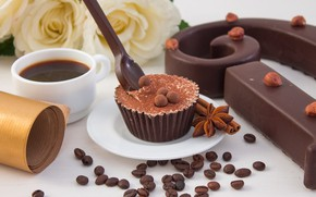 Picture coffee, chocolate, candy, spices