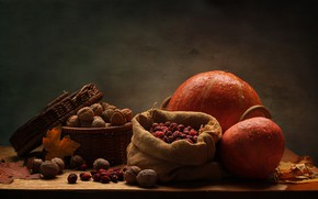 Picture leaves, table, basket, yellow, pumpkin, nuts, still life, bag, walnut, dried fruits