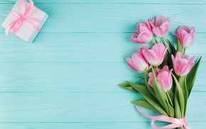 Wallpaper love, flowers, gift, tulips, love, pink, fresh, wood, pink, flowers, beautiful, romantic, tulips, gift, spring, ...
