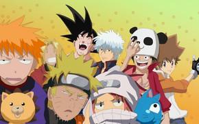 Picture game, Bleach, Naruto, One Piece, anime, crossover, asian, manga, Fullmetal Alchemist, Gintama, Naruto Shippuden, panda, …
