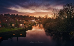 Picture light, river, home, the evening, channel