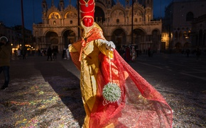 Picture night, Italy, costume, Venice, carnival, The Cathedral Of St. Mark