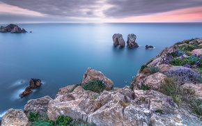 Picture sea, landscape, sunset, rocks, seasc