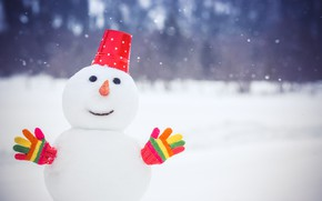 Wallpaper winter, snow, snowman, winter, snow, Xmas, snowman