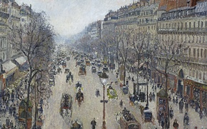 Picture street, home, picture, the urban landscape, Camille Pissarro, The Boulevard Montmartre. Morning. Overcast