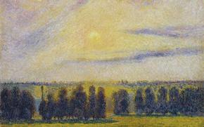 Picture landscape, picture, Camille Pissarro, Sunset at Eragny