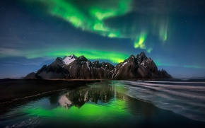 Picture beach, the sky, stars, mountains, night, Northern lights, Iceland, the fjord, Cape, Have stoknes, Hornafjordur