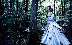 Picture forest, girl, hat, dress, actress, fur, Keira Knightley, Keira Knightley, photoshoot, Vogue