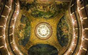 Picture the ceiling, hall, Brazil, Manaus, Teatro Amazonas