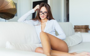 Picture Girl, White, Sofa, Room, Spectacles