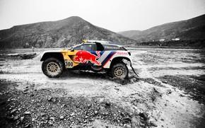 Picture Sport, Speed, Stones, Race, Peugeot, Lights, Red Bull, Rally, Dakar, Dakar, Rally, Sport, The front, …