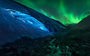 Wallpaper Northern lights, glacier, Canada, Albert, Athabasca Glacier