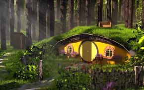 Picture house, fantasy, Middle earth, Forest Hobbit House, Austin Richey