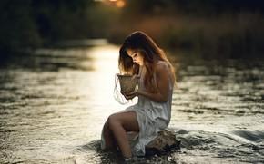 Picture girl, nature, river, Laulight