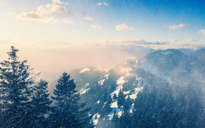 Picture snow, mountains, fog