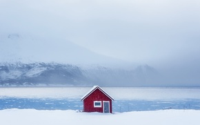 Picture winter, snow, house, shore