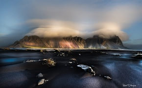 Picture beach, the sky, clouds, mountains, fog, Iceland, Stones