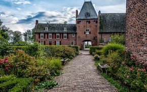 Picture the sky, clouds, trees, flowers, castle, garden, Netherlands, the bushes, Castle Doorwerth